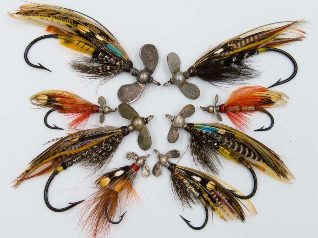 an arrangement of fly fishing lures