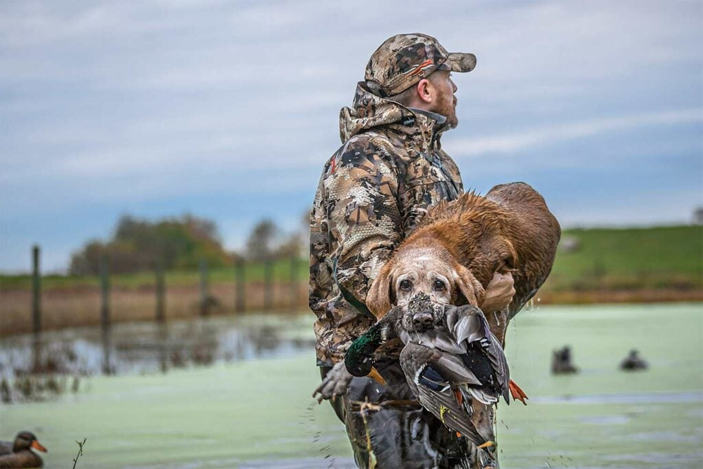 Hunter carrying a hunting dog.