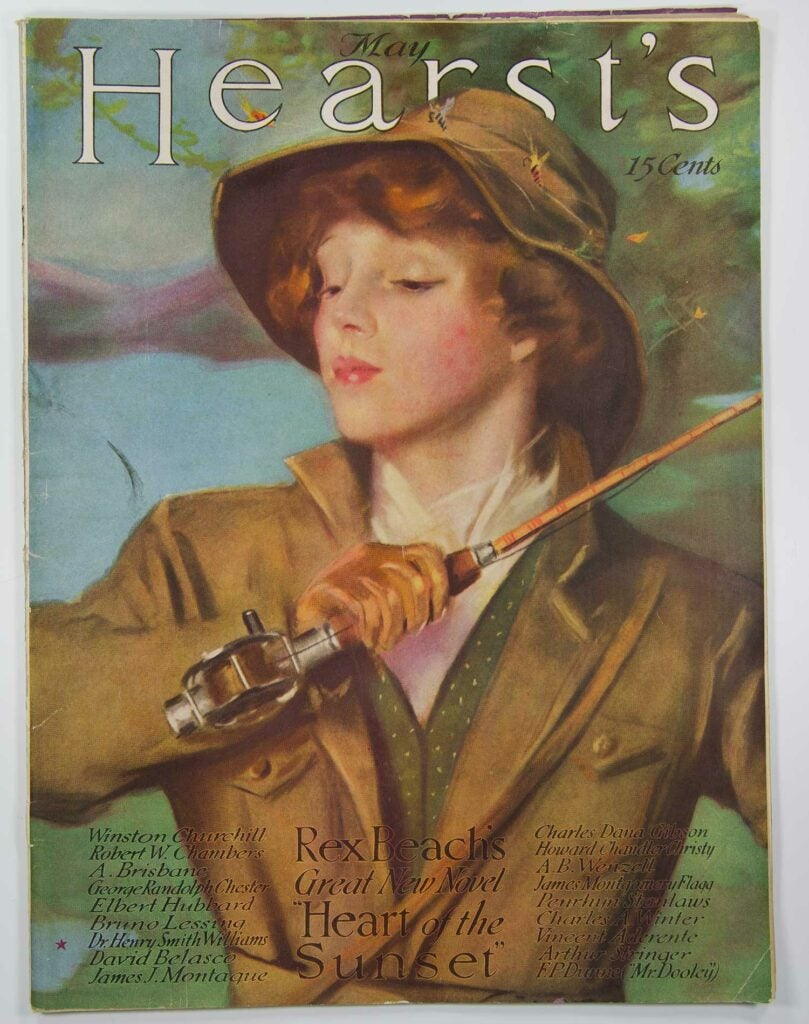 woman angler painting on the cover of hearsts magazine