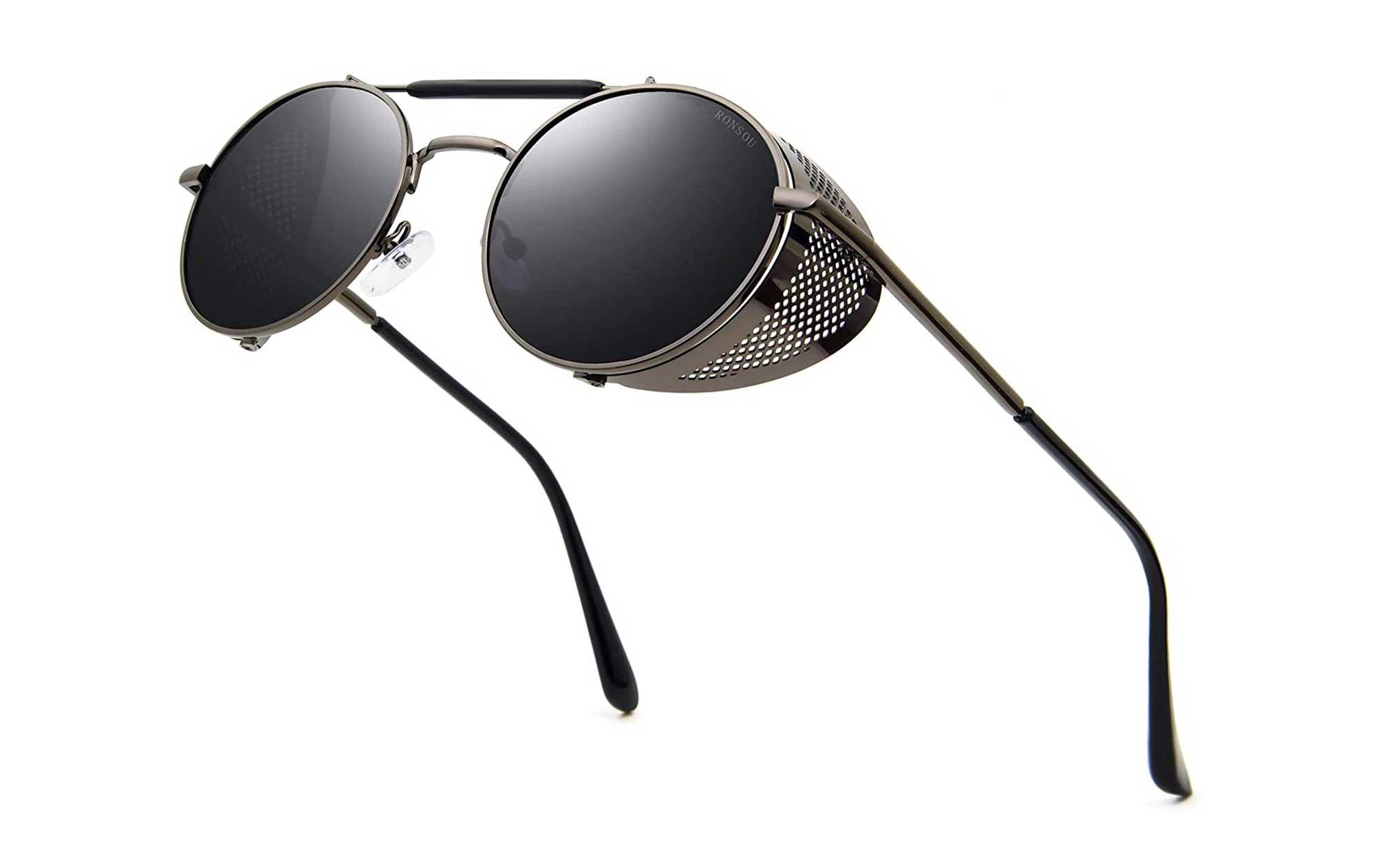 Ronsou Steampunk Style Round Vintage Polarized Sunglasses Retro Eyewear