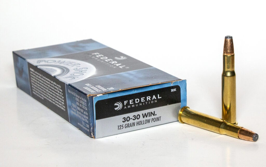 A box of Federal .30-30 winchester ammo.