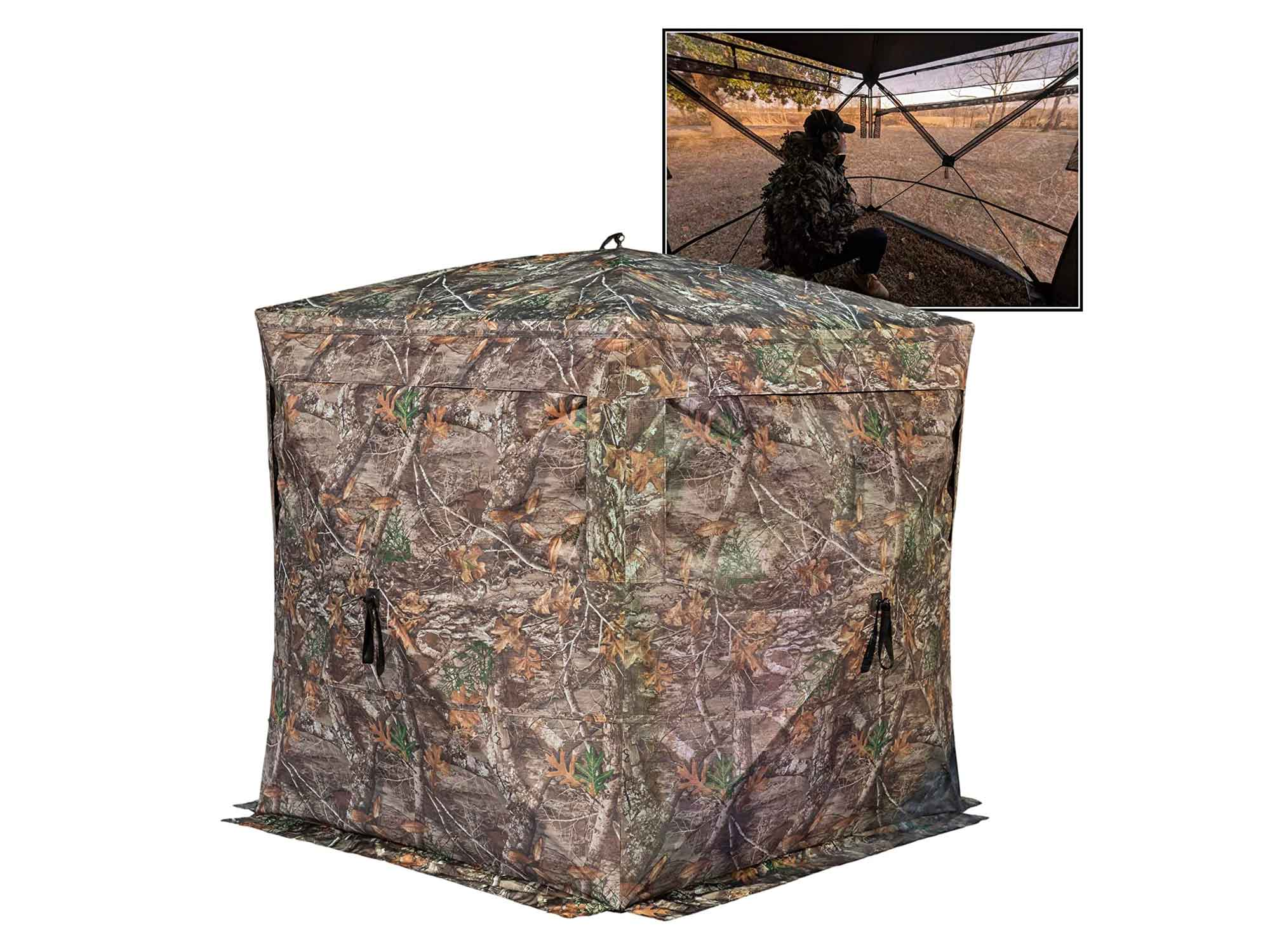 Rhino Blinds 3 Person See Through Hunting Ground Blind, Realtree Edge
