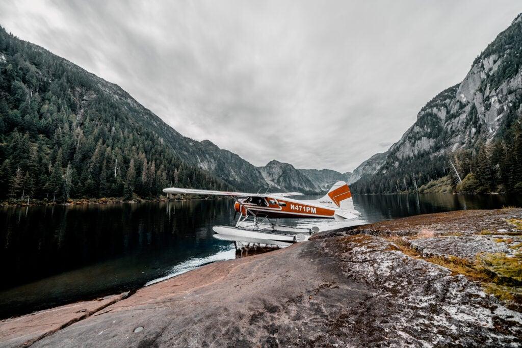 Float plane in remote lake in Alaska.