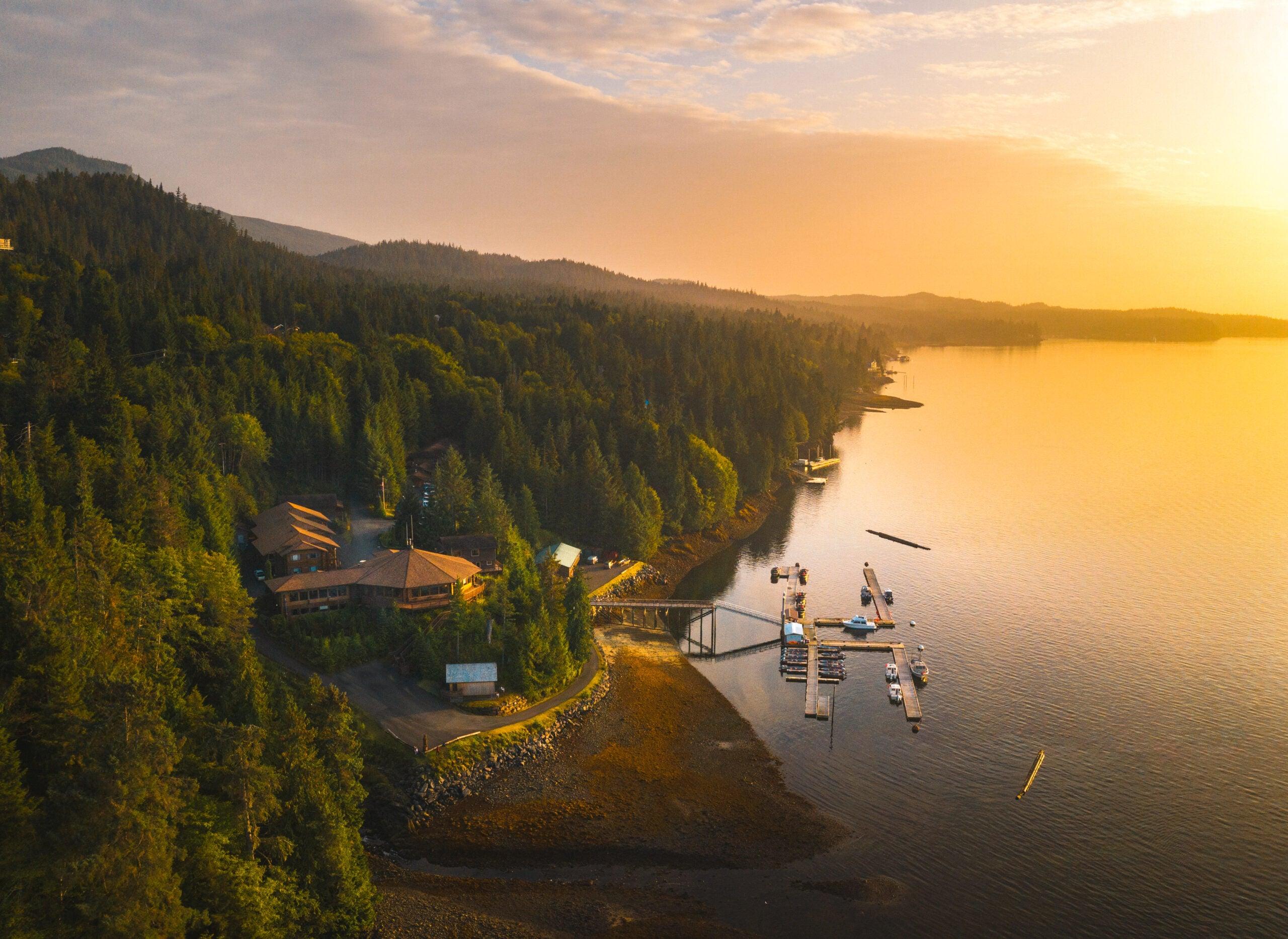 Sunset over a fishing resort in Alaska.