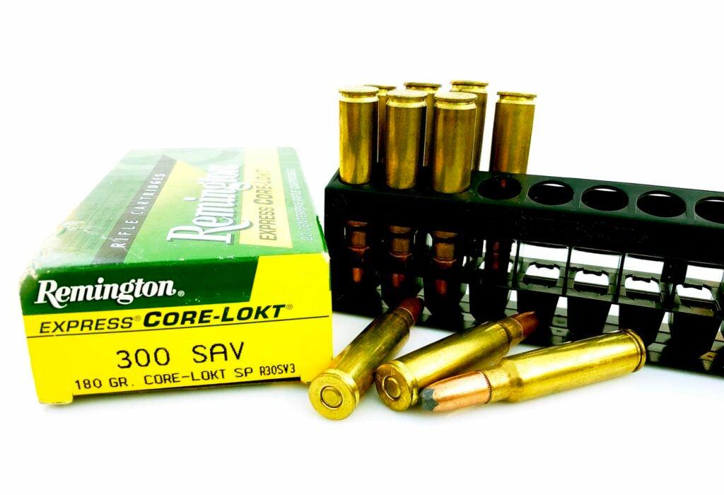A box of Remington Core-Lokt .300 Savage ammunition.