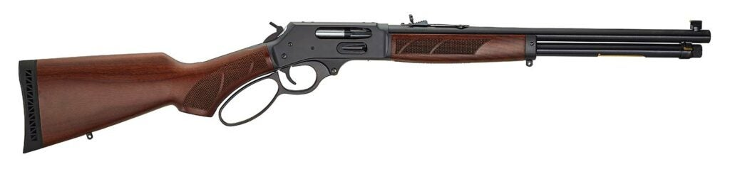 A Henry Lever-Action rifle on a white background.