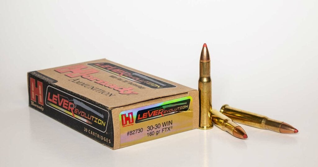 A box of Hornady lever-action ammunition on a white background.
