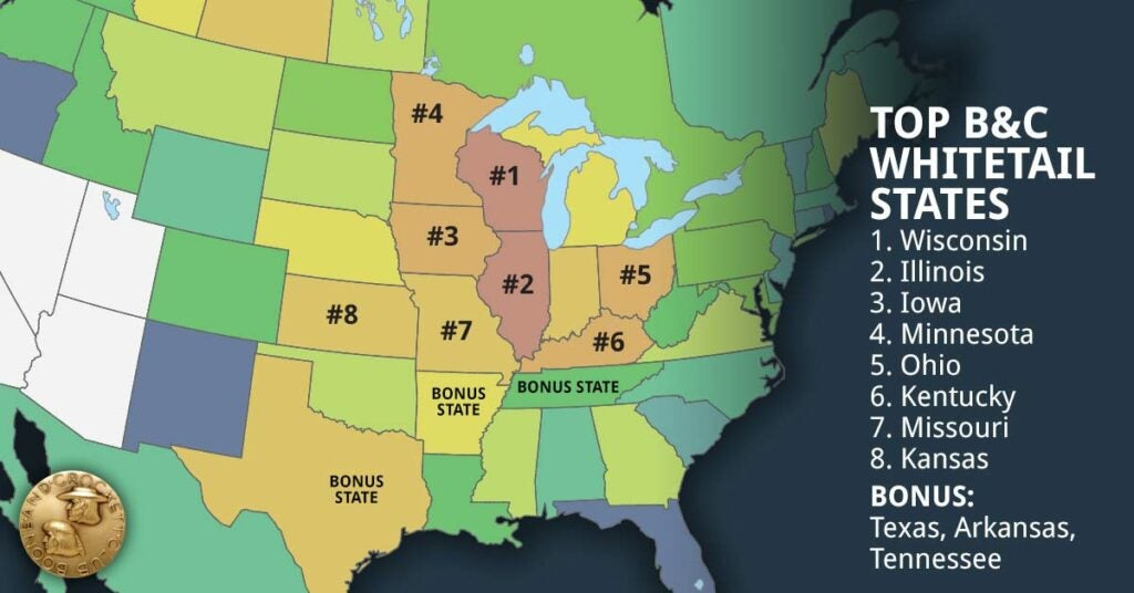 A map showing top whitetail states.