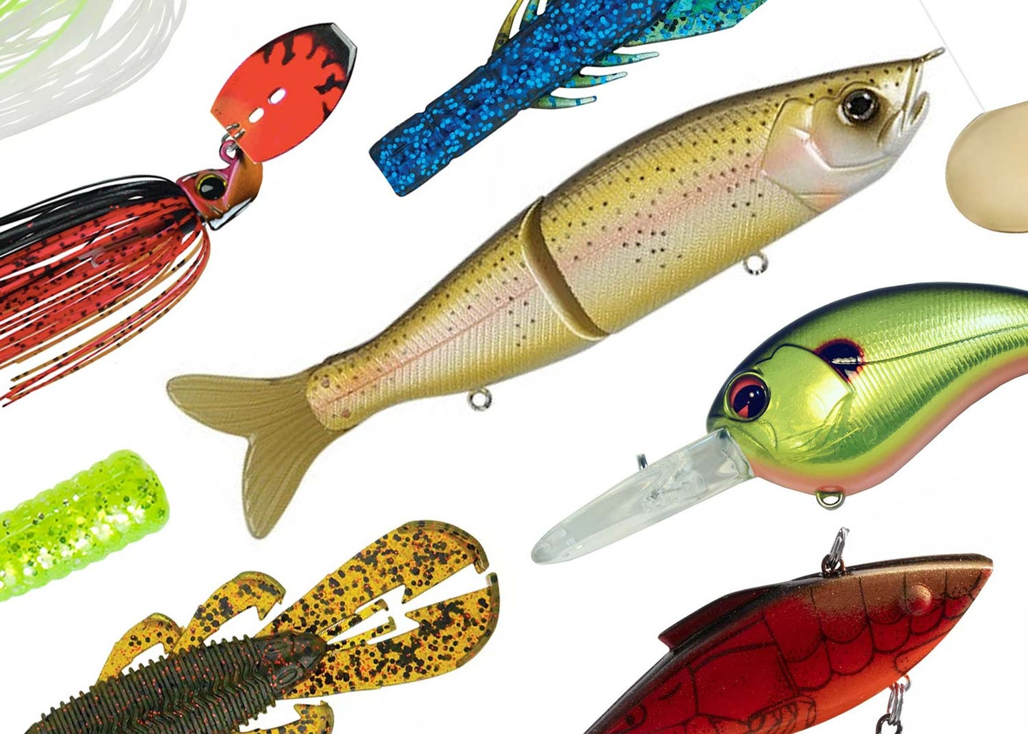 A collage of bass fishing lures on a white background.