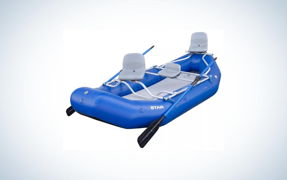 blue fishing raft