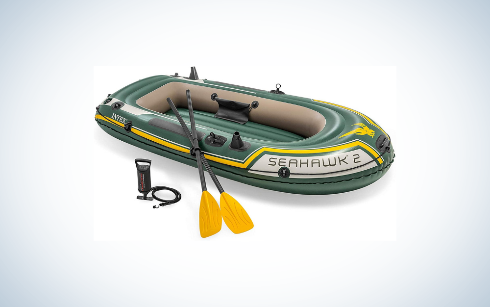 green inflatable boat