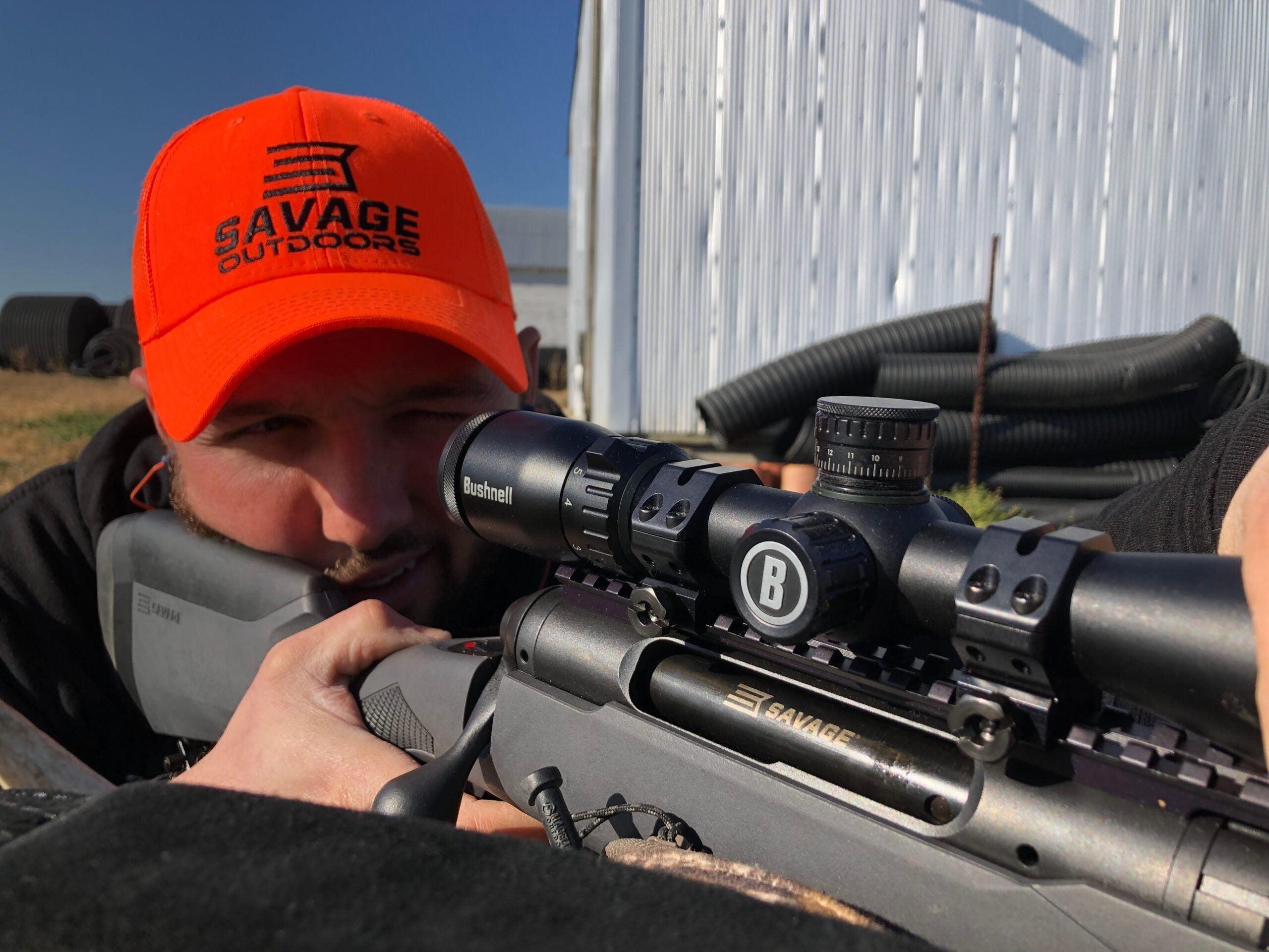 Deer hunter sighting in Savage 220 slug gun in 20-gauge