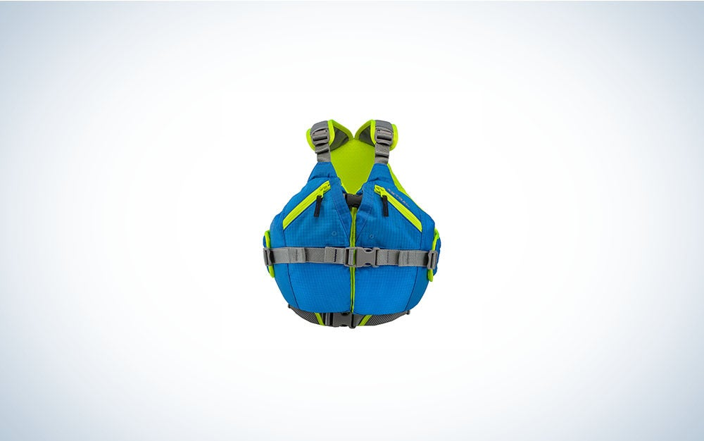 Blue and green kids' life jacket