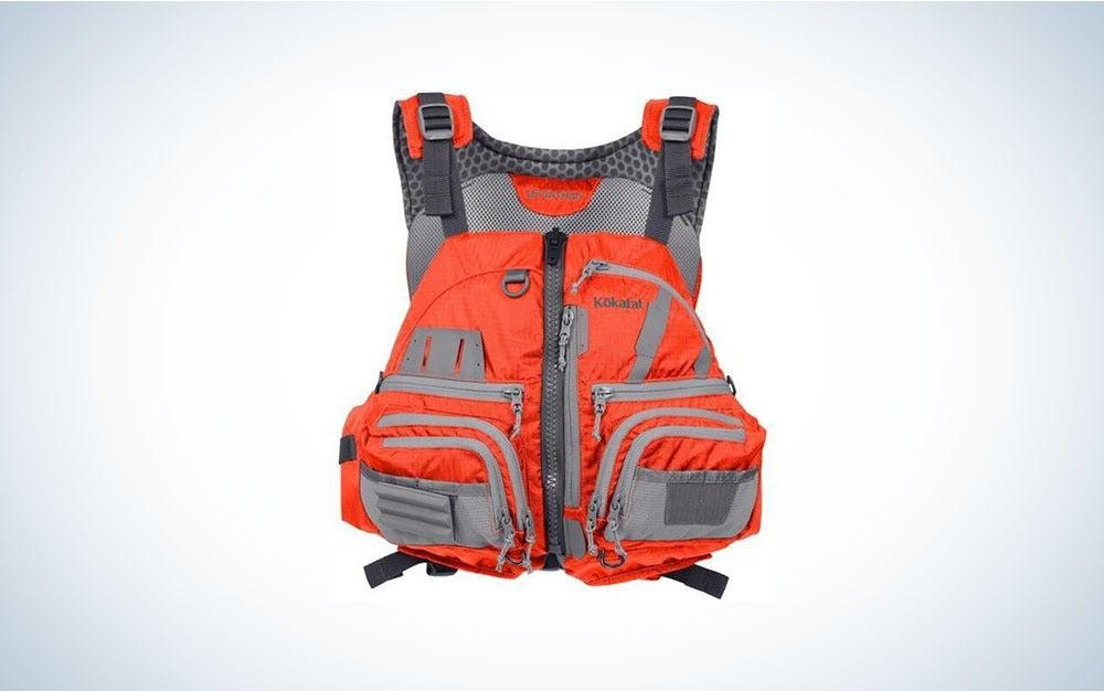 Red and black kayak life vest.