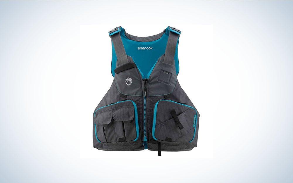 Black and blue women's life jacket