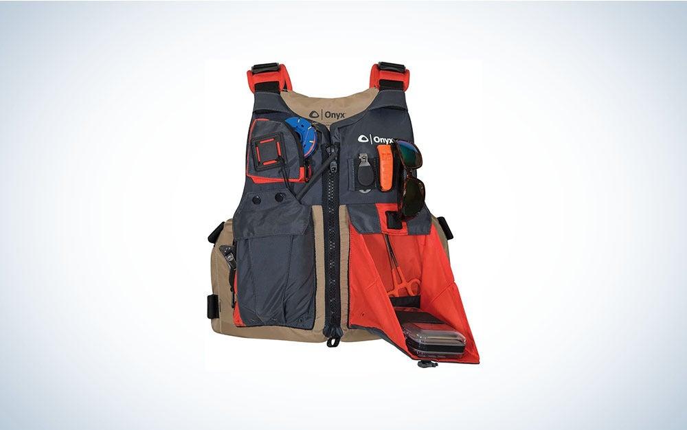 Orange and black life vest