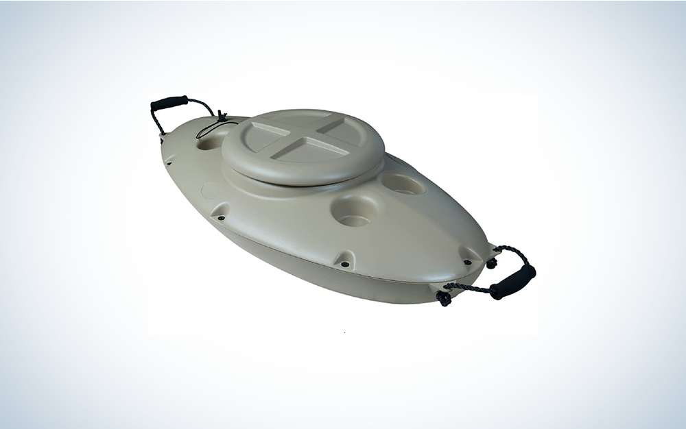 Beige insulated floating cooler.