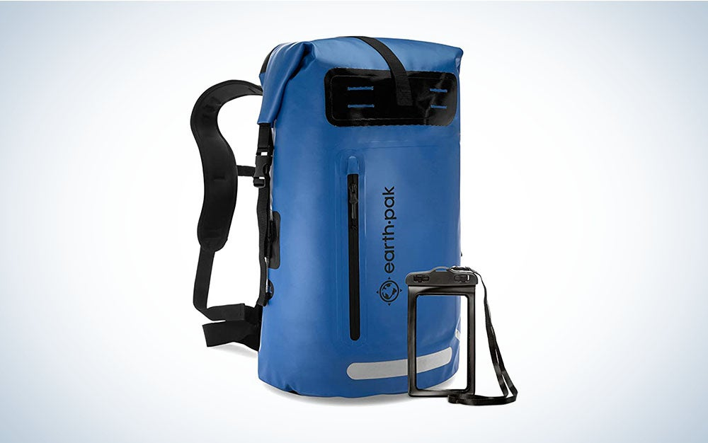 Blue waterproof backpack