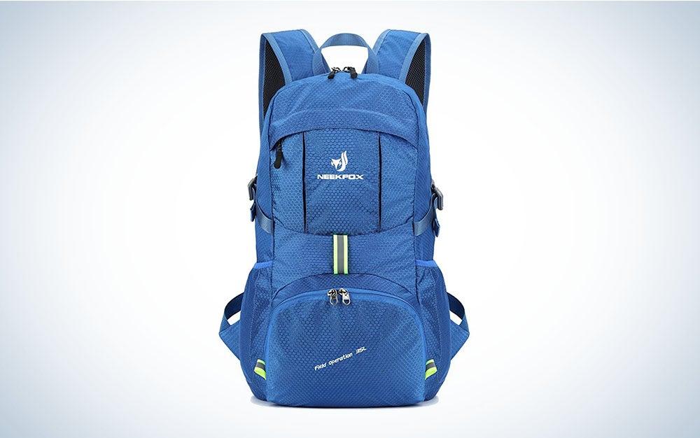 blue, lightweight hiking daypack