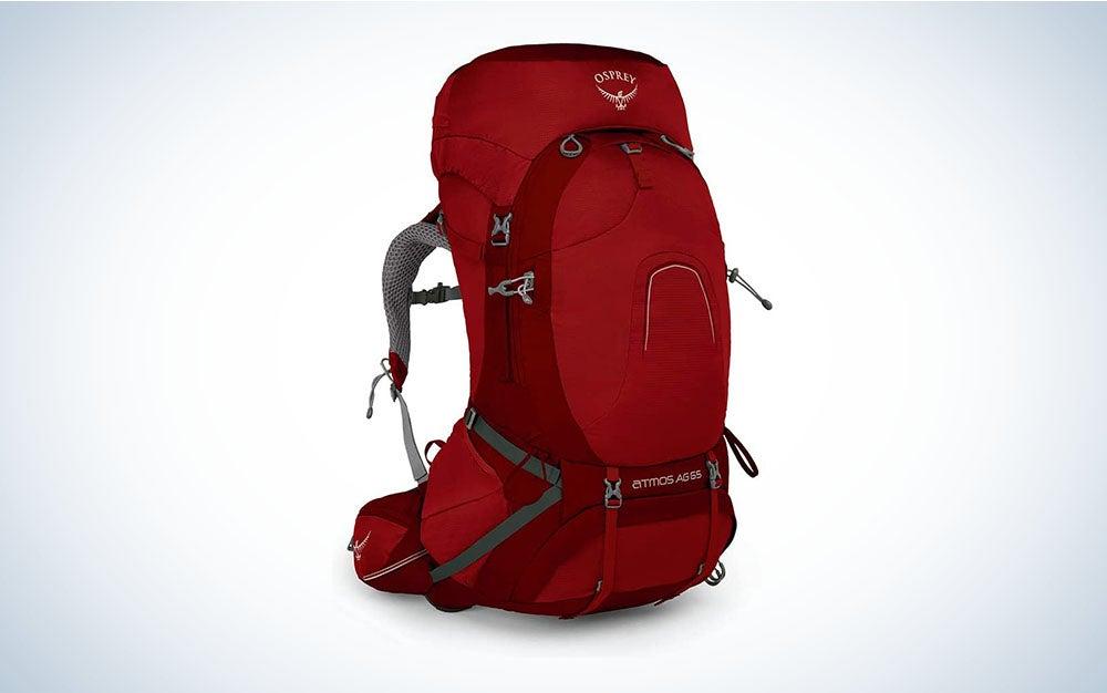 Red Osprey backpack for backpacking