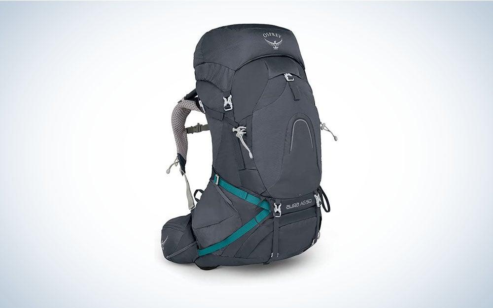 women's grey Osprey backpacking backpack