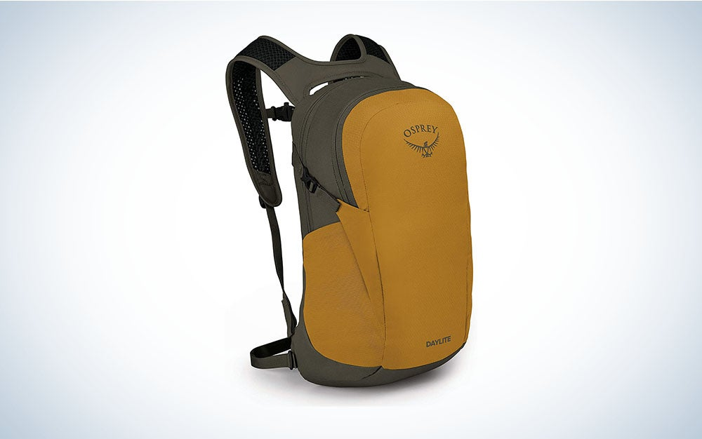 tan Osprey backpack for hiking