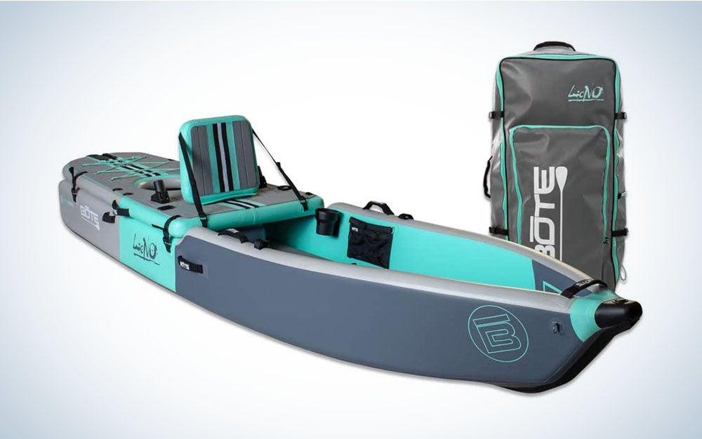 Gray and blue paddle kayak