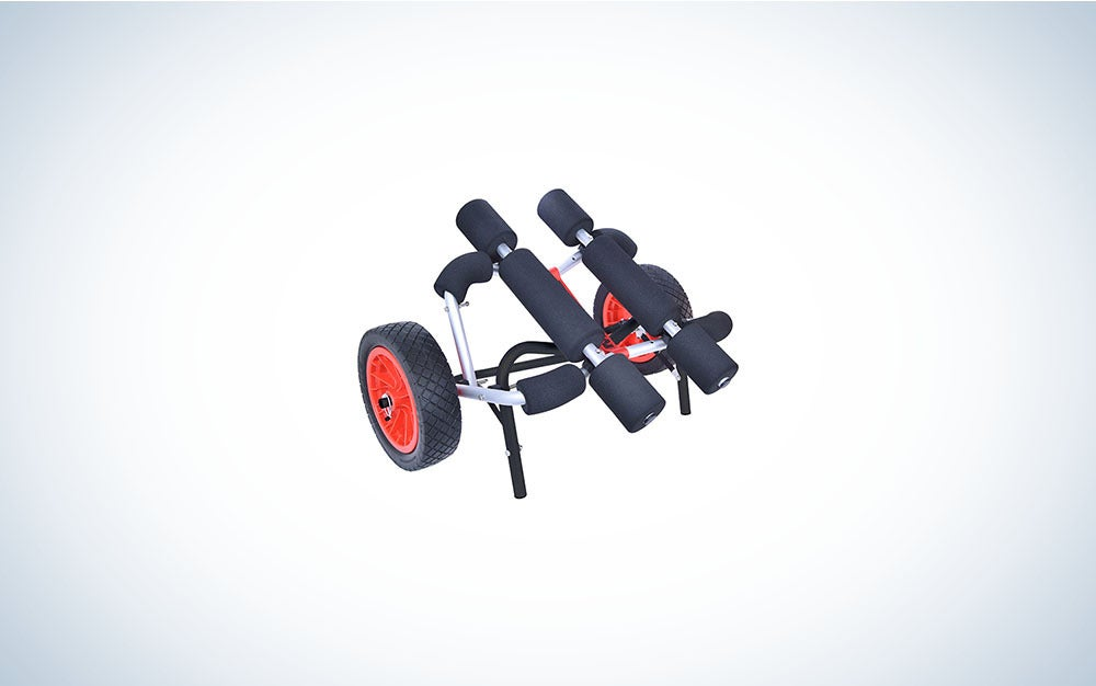 Black and red kayak/canoe cart