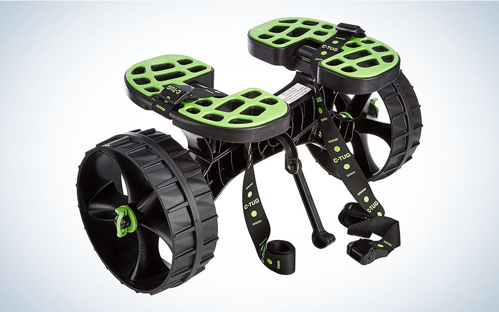 Green and black kayak trolley cart
