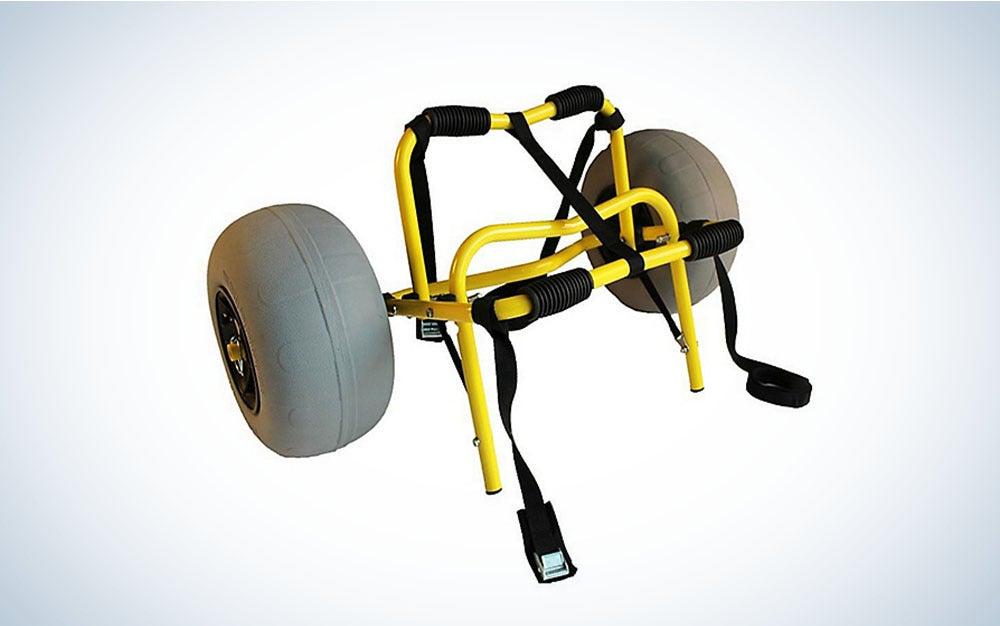 Yellow kayak cart
