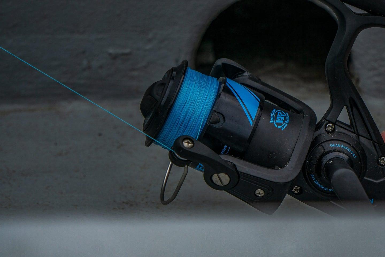 Blue fishing reel