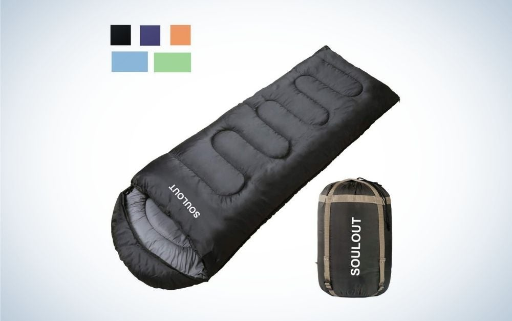 Single and black summer sleeping bag with zipper
