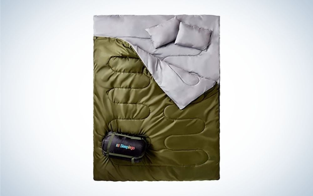 Green and gray summer sleeping bag with zipper