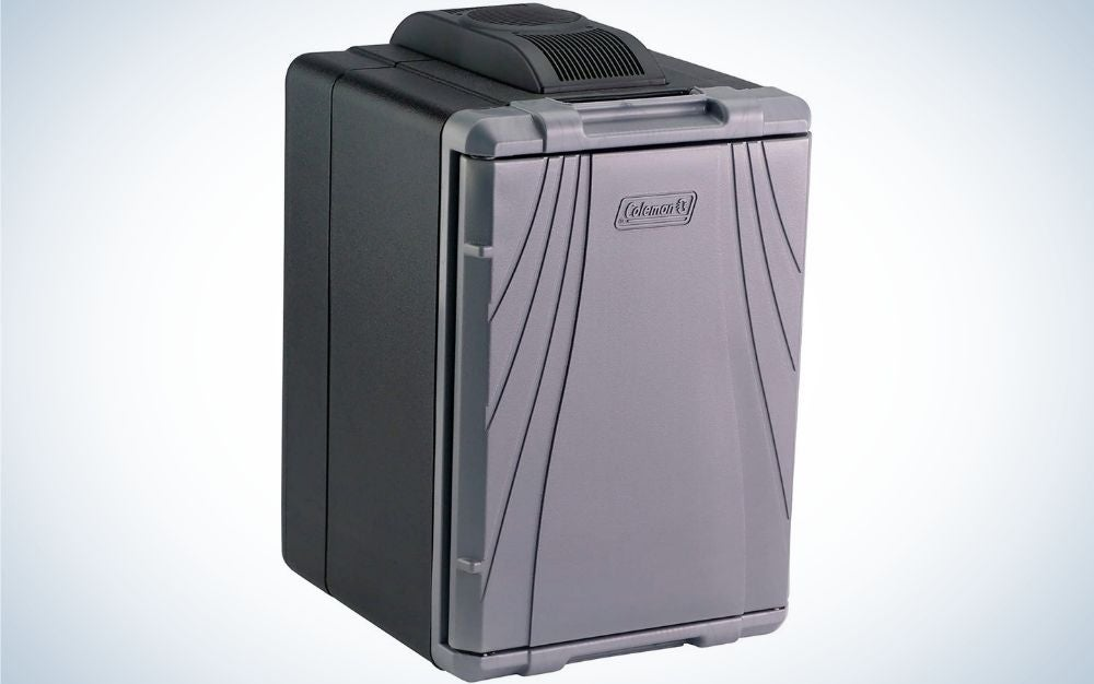 A big grey box Thermoelectric Coleman cooler.