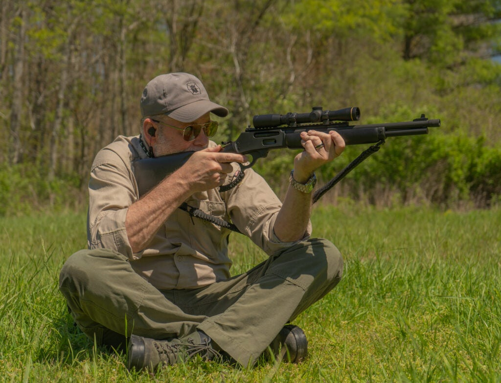 Sitting lever action GP rifle drill