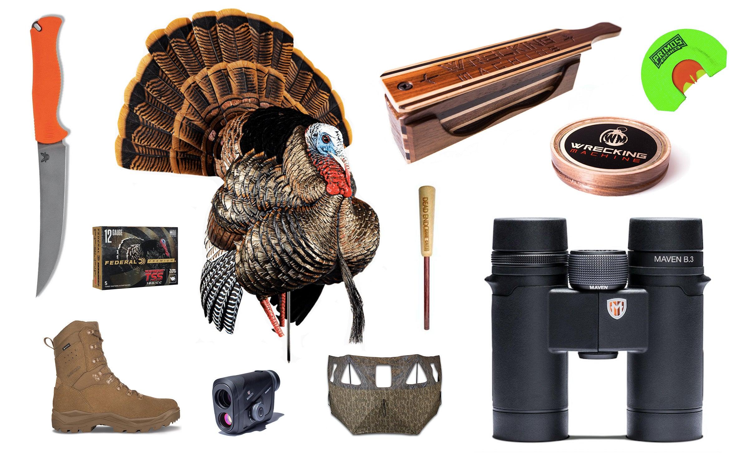 turkey gear collage on white background