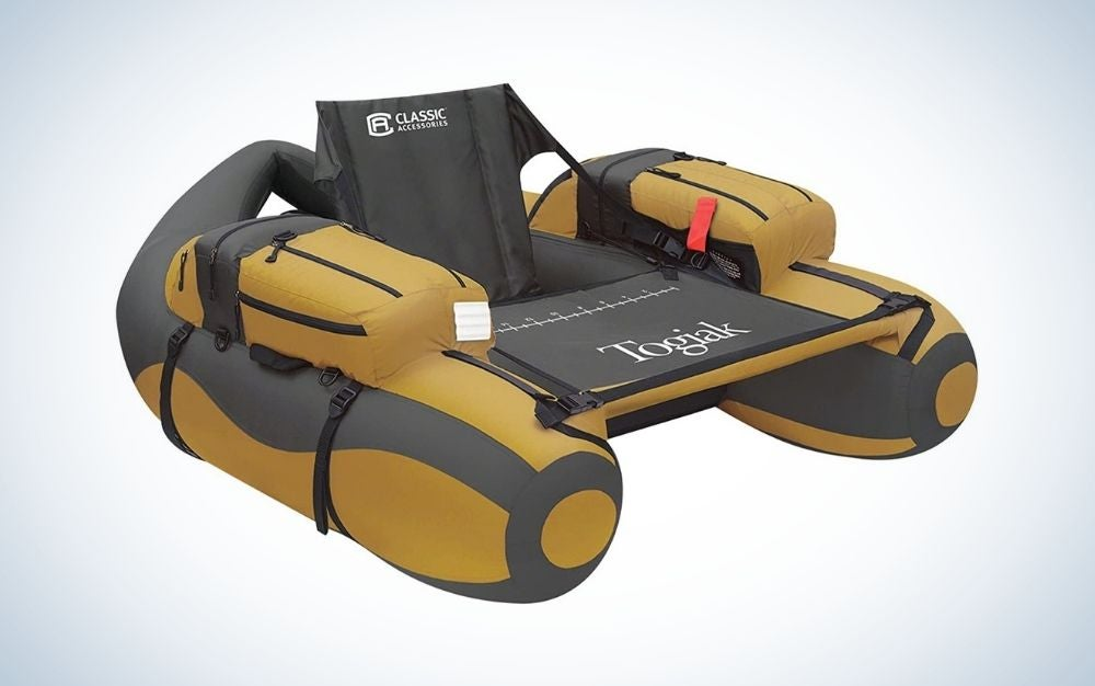 Black and brown inflatable boat for fishing
