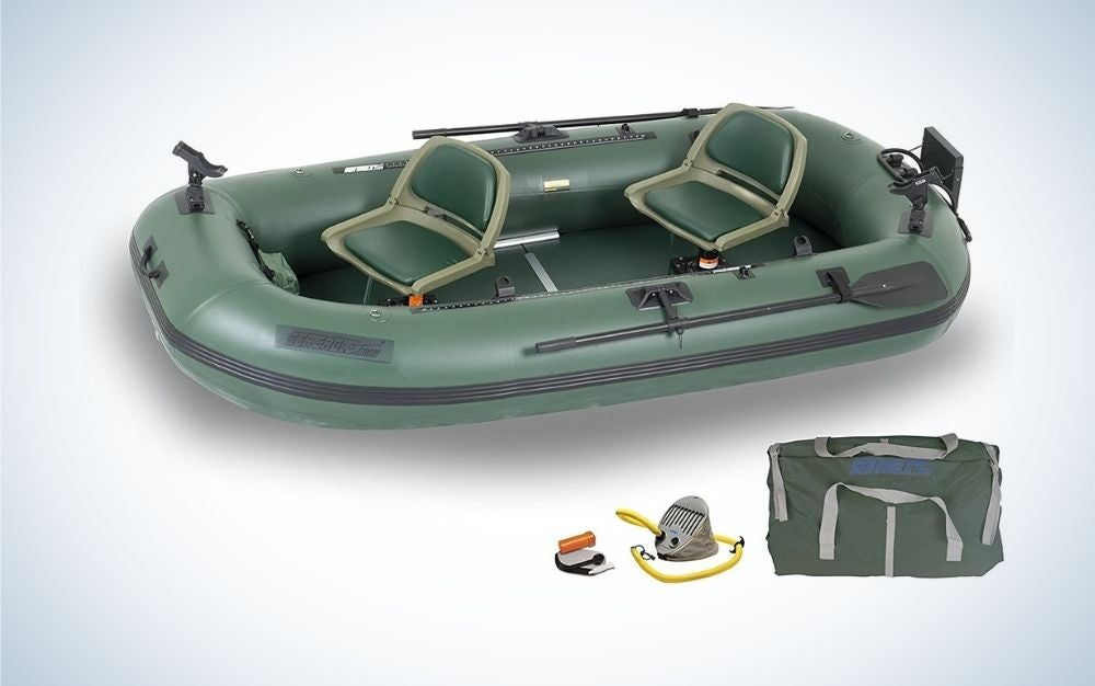 Dark green inflatable boat for lakes and ponds