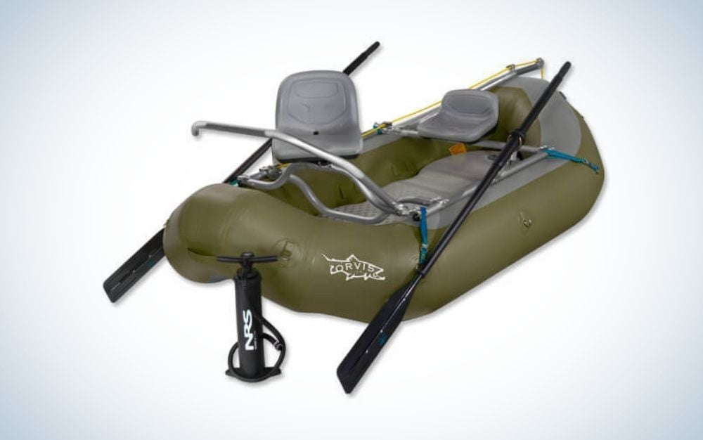 Gray and olive color inflatable boat with black paddles