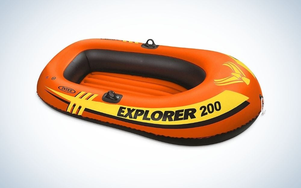Black and orange Explorer 200 inflatable boat