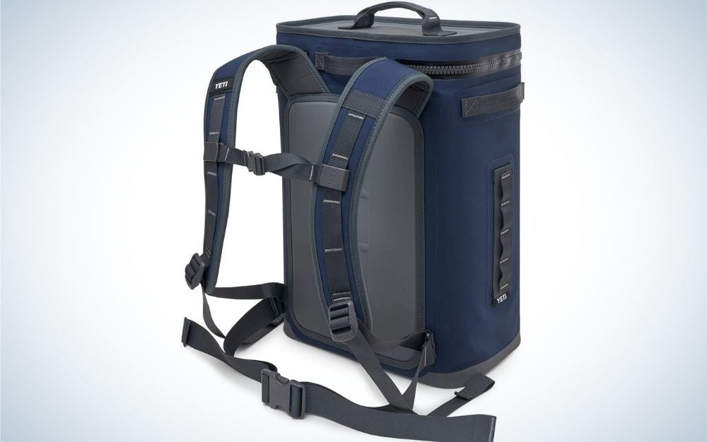 A blue and gray backpack with both arms that can hold it.