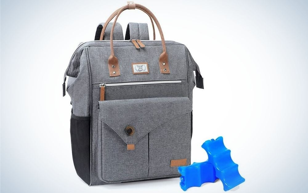 A rectangular gray bag with two front pockets and two short brown holders.