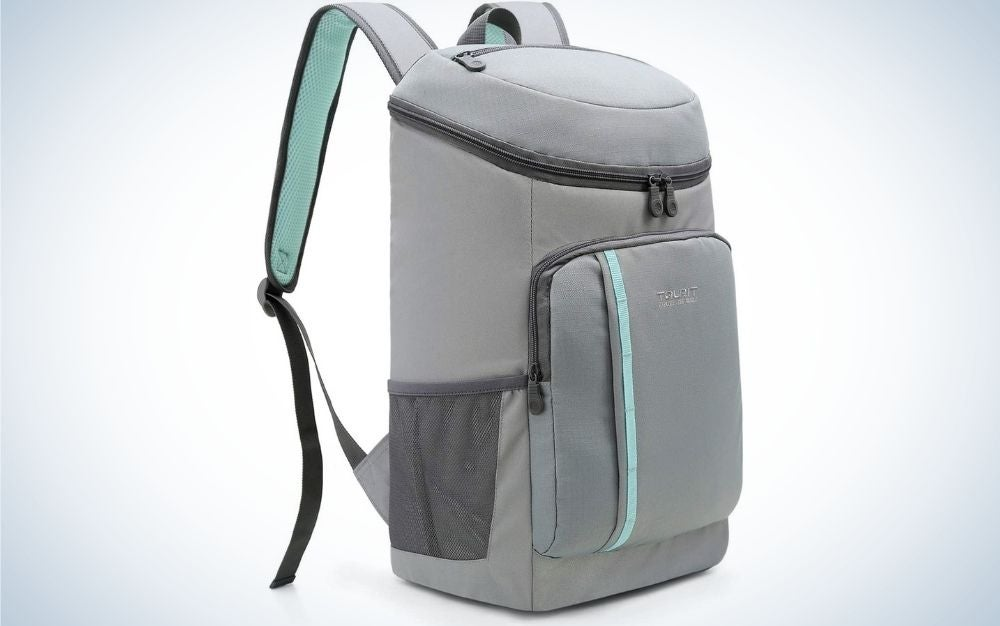 A light gray backpack with both arms that can hold it.