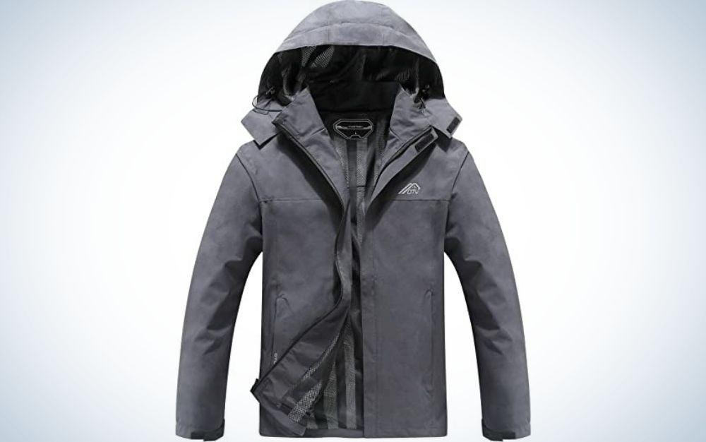 A grey man rain jacket with a big hood.