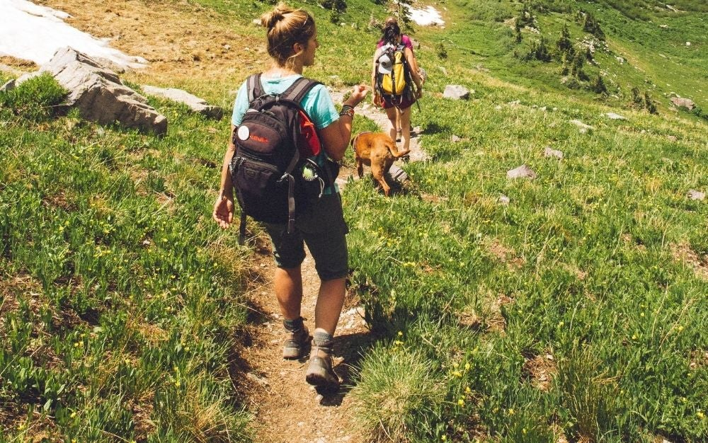 Two woman wearing comfortable clothes and socks hiking in the mountain in a sunny day.