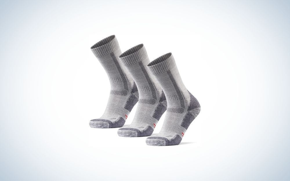 3 Pack light grey socks with slip-on closure from side.