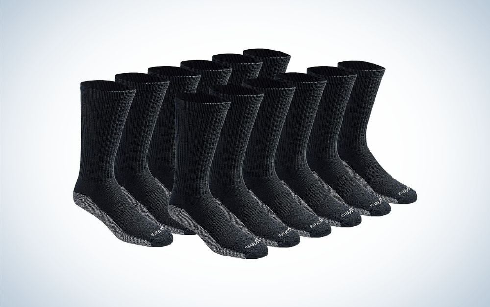 12 Pairs of black socks with Durable Reinforced Heel and Toe from side.
