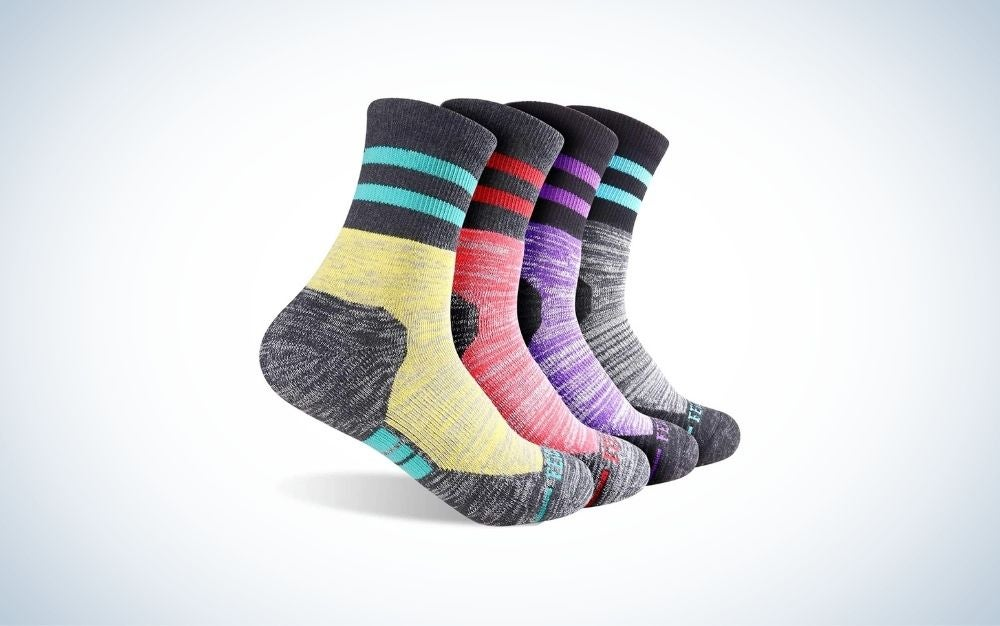 Multi pack Dark Gray/Purple/Light Red/Light Yellow color socks with elastic closure from side.