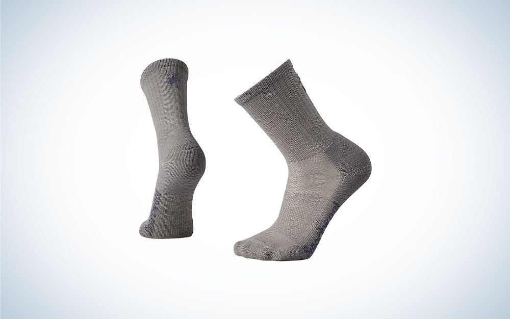 Medium Grey Light Wool Performance Socks from side and back.