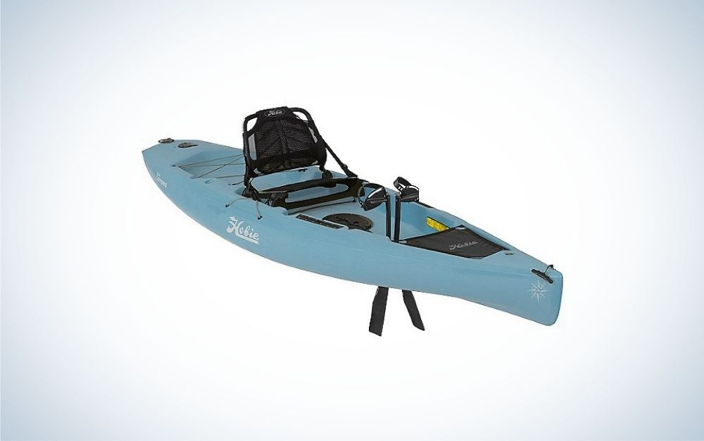 A kayak in light blue color in the body and black on the place where you can sit.